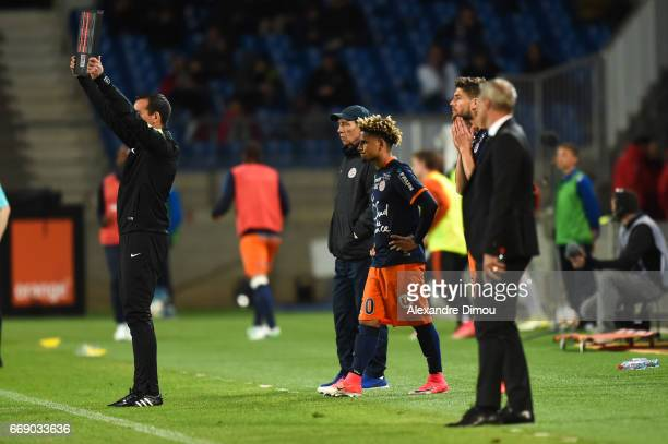 Jean Louis Gasset Coach and Keagan Dolly of Montpellier during the Ligue 1 match between Montpellier Herault SC and Fc Lorient at Stade de la Mosson...