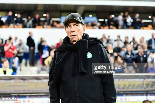 Jean Louis Gasset Coach of Saint Etienne during the Ligue 1 match between Montpellier Herault SC and AS SaintEtienne at Stade de la Mosson on April...