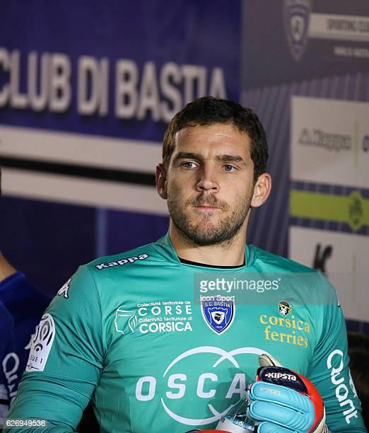 Jean Louis Leca of Bastia during the Ligue 1 match between SC Bastia and FC Girondins de Bordeaux at Stade Armand Cesari on November 30 2016 in...
