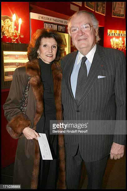 Jean Louis Vilgrain and sister at The Paris Production Of The Show Une Comedie Romantique At The Theatre Montparnasse In Aid Of L'Aprec.