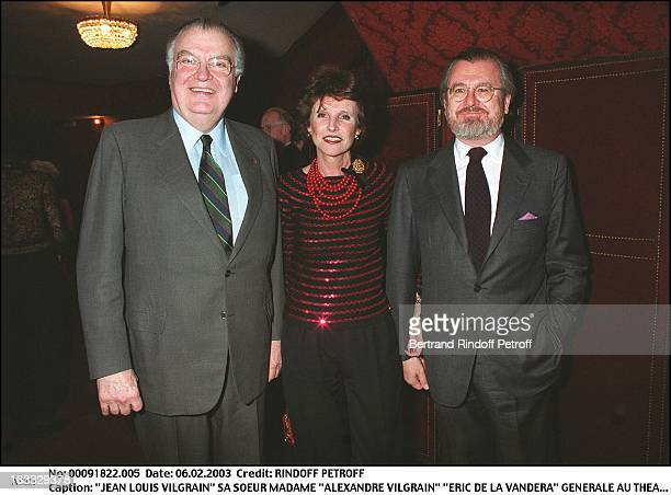 Jean Louis Vilgrain his sister Mrs 'Alexandre Vilgrain' 'Eric De La Vandera' preview at the Montparnasse theater for the benefit of the association...