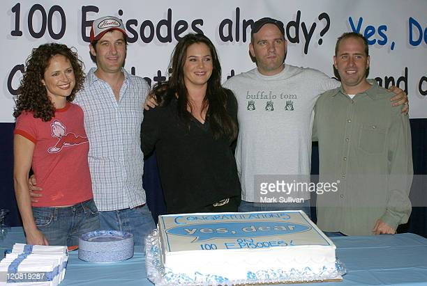 Jean Louisa Kelly Anthony Clark Liza Snyder Mike O'Malley and Greg Garcia executive producer/cocreator celebrate the 100th episode of Yes Dear