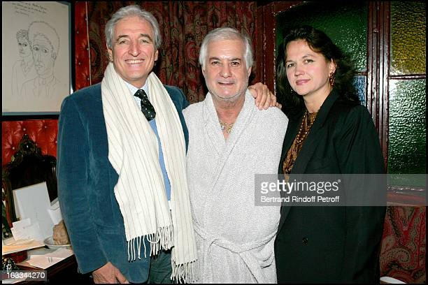 Jean Loup Dabadie and wife at the Celebration Of The Hit Show J' Ai Oublie De Vous Dire Featuring Jean Claude Brialy At The Theatre Des Bouffes...