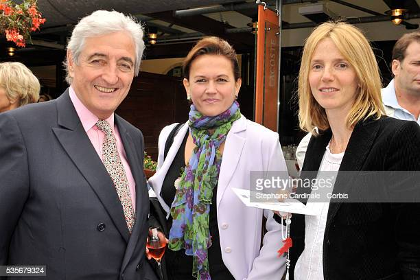 Jean Loup Dabadie with his wife and Sandrine Kimberlain at Roland Garros Village in Paris