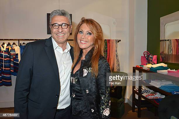 Jean luc Benhamou and Julie Pietri attend 'Charriol' Ephemeral Boutique opening hosted by Nathalie Garcon at Galerie Vivienne on April 28 2014 in...