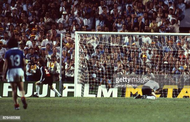 Jean Luc Ettori of France celebrate his save Uli Stielike of Germany looks dejected during of the game Semi Final World Cup match between West...
