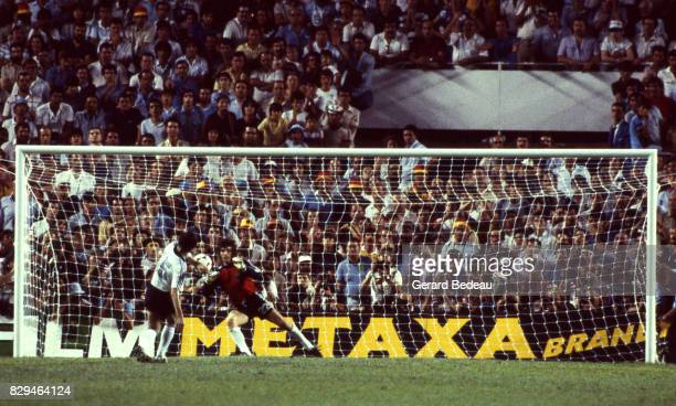 Jean Luc Ettori of France save a penalty shoot by Uli Stielike of Germany during of the game Semi Final World Cup match between West Germany and...