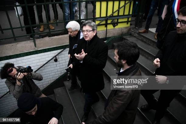 Jean Luc Melenchon leaves the demonstration after a whistle by the demonstrators at the demonstration against the breakup of the public railway...