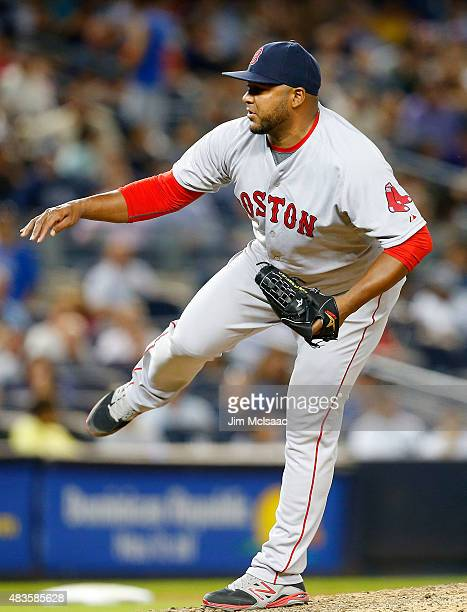Jean Machi of the Boston Red Sox in action against the New York Yankees at Yankee Stadium on August 4 2015 in the Bronx borough of New York City The...