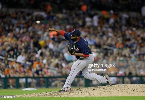 Jean Machi of the Boston Red Sox pitches against the Detroit Tigers at Comerica Park on August 7 2015 in Detroit Michigan
