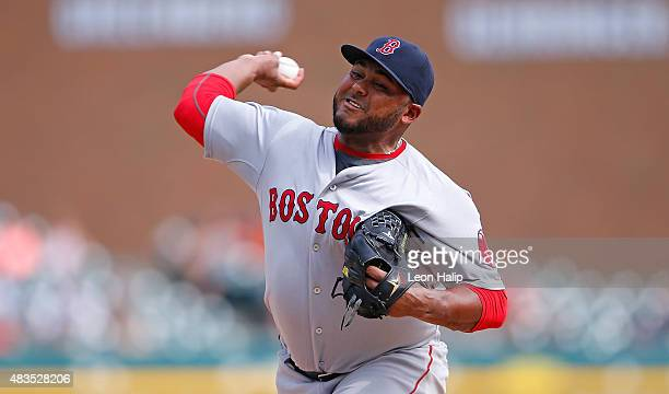Jean Machi of the Boston Red Sox pitches during the ninth inning of the game against the Detroit Tigers on August 9 2015 at Comerica Park in Detroit...