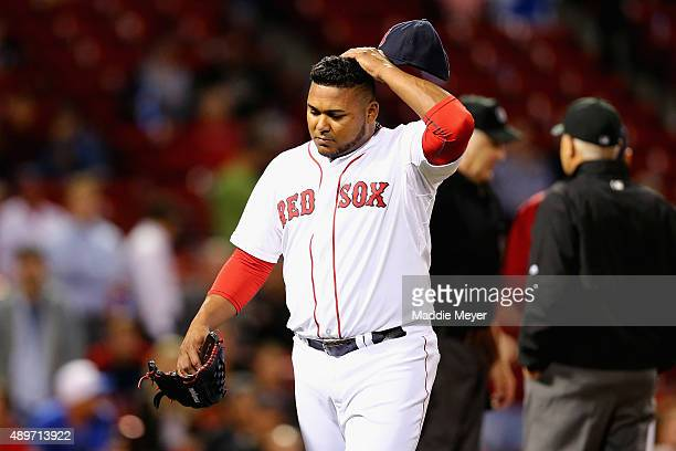 Jean Machi of the Boston Red Sox reacts after being ejected for hitting Steven Souza Jr #20 of the Tampa Bay Rays with a pitch during the ninth...
