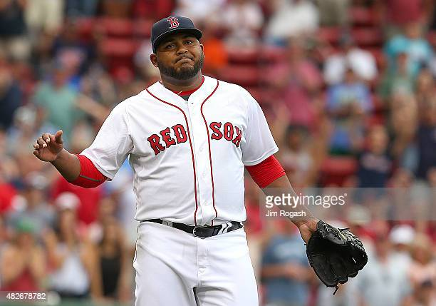 Jean Machi of the Boston Red Sox reacts defeating the Tampa Bay Rays 117 at Fenway Park on August 1 2015 in Boston Massachusetts