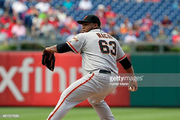 Jean Machi of the San Francisco Giants during a game against the Philadelphia Phillies at Citizens Bank Park on July 24 2014 in Philadelphia...