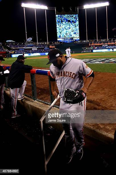 Jean Machi of the San Francisco Giants leaves the game in the sixth inning against the San Francisco Giants during Game Two of the 2014 World Series...