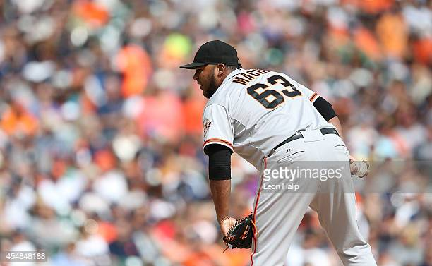 Jean Machi of the San Francisco Giants piches during the seventh inning of the game against the Detroit Tigers during at Comerica Park on September 6...