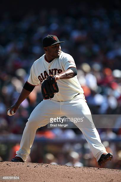 Jean Machi of the San Francisco Giants pitches against the Arizona Diamondbacks during the game at ATT Park on Thursday September 11 2014 in San...