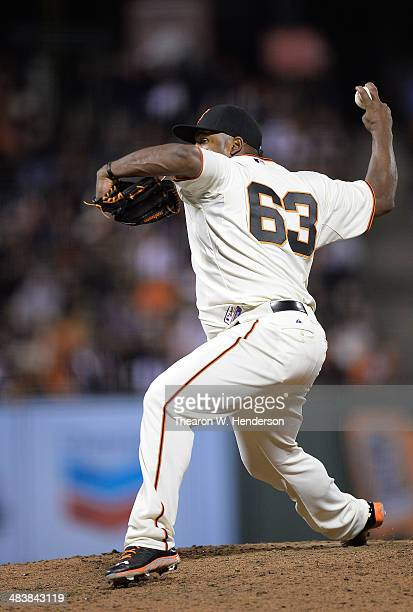 Jean Machi of the San Francisco Giants pitches against the Arizona Diamondbacks in the top of the eighth inning at ATT Park on April 9 2014 in San...