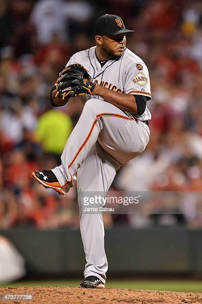 Jean Machi of the San Francisco Giants pitches against the Cincinnati Reds at Great American Ball Park on May 16 2015 in Cincinnati Ohio