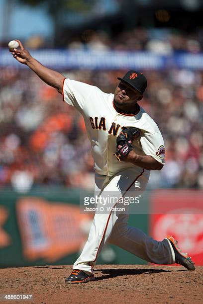 Jean Machi of the San Francisco Giants pitches against the Cleveland Indians during the seventh inning at ATT Park on April 26 2014 in San Francisco...