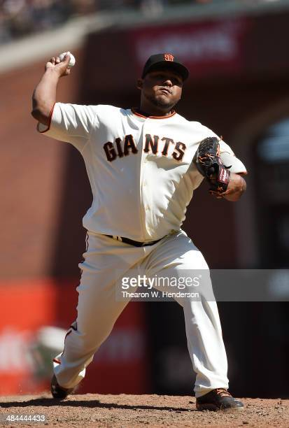 Jean Machi of the San Francisco Giants pitches against the Colorado Rockies in the top of the eighth inning at ATT Park on April 12 2014 in San...