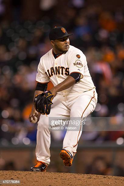 Jean Machi of the San Francisco Giants pitches against the Los Angeles Dodgers during the ninth inning at ATT Park on April 21 2015 in San Francisco...