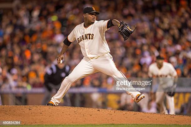 Jean Machi of the San Francisco Giants pitches against the Minnesota Twins on May 24 2014 at ATT Park in San Francisco California The Giants defeated...