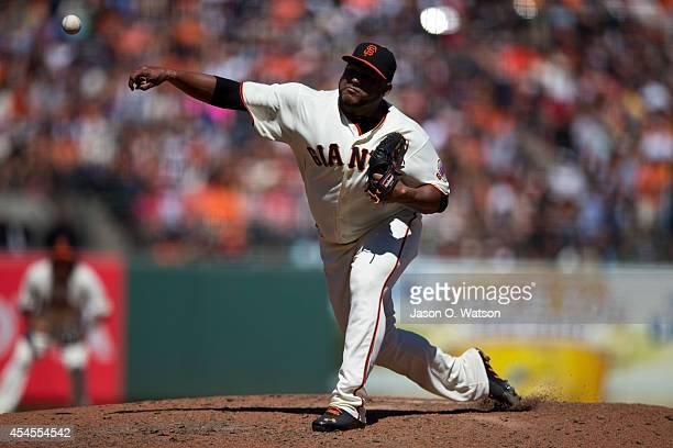 Jean Machi of the San Francisco Giants pitches against the Philadelphia Phillies during the seventh inning at ATT Park on August 17 2014 in San...