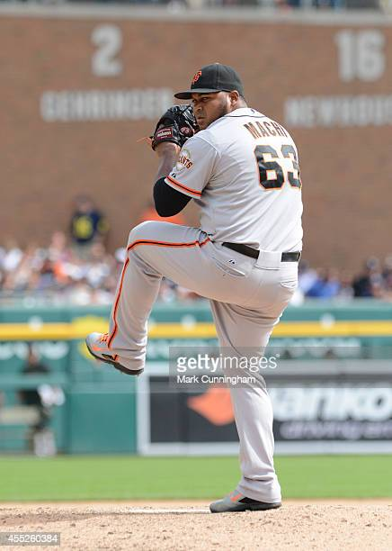 Jean Machi of the San Francisco Giants pitches during the game against the Detroit Tigers at Comerica Park on September 6 2014 in Detroit Michigan...