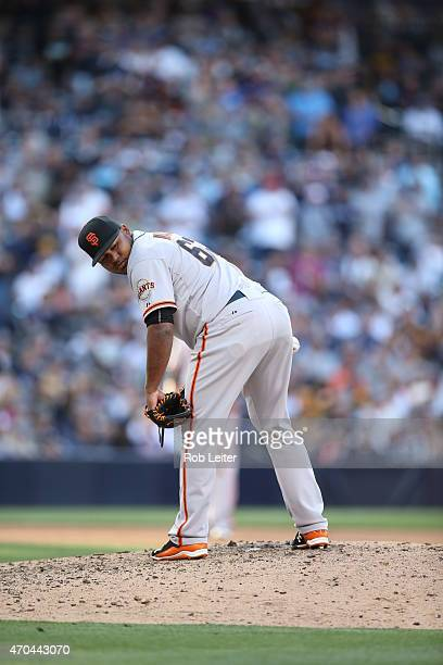 Jean Machi of the San Francisco Giants pitches during the game against the San Diego Padres at Petco Park on Thursday April 9 2015 in San Diego...