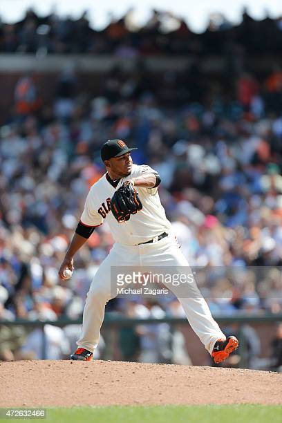 Jean Machi of the San Francisco Giants pitches during the game against the Los Angeles Dodgers at ATT Park on April 23 2015 in San Francisco...