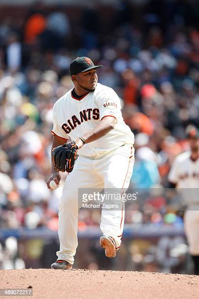 Jean Machi of the San Francisco Giants pitches during the game against the Cleveland Indians at ATT Park on April 26 2014 in San Francisco California...