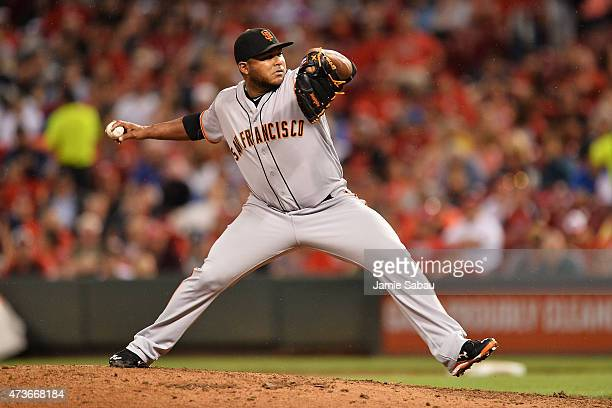 Jean Machi of the San Francisco Giants pitches in the sixth inning against the Cincinnati Reds at Great American Ball Park on May 16 2015 in...
