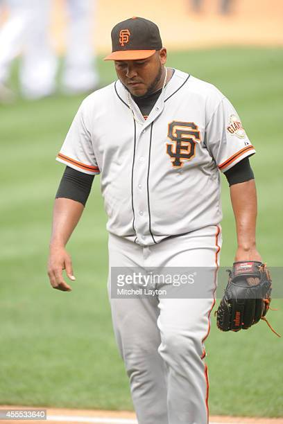 Jean Machi of the San Francisco Giants pwalks to the dug out during a baseball game against the Washington Nationals on August 24 2014 at Nationals...