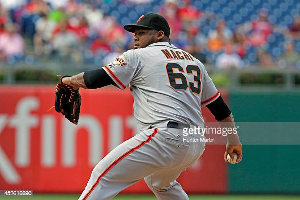 Jean Machi of the San Francisco Giants throws a pitch in the eighth inning during a game against the Philadelphia Phillies at Citizens Bank Park on...
