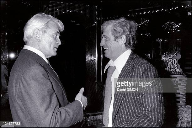 Jean Marais and Jean Paul Belmondo at the Elysee Matignon In Paris France On September 30 1977