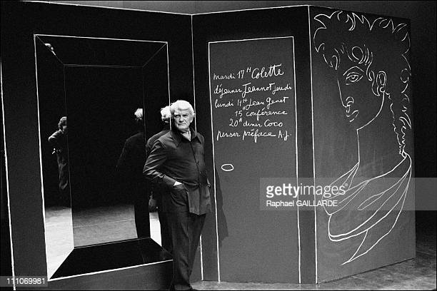 Jean Marais at the theatre Prevert set with Cocteau's text as a tribute from him to Jean Cocteau in Aulnay Sous Bois France on Octorber 01 1987