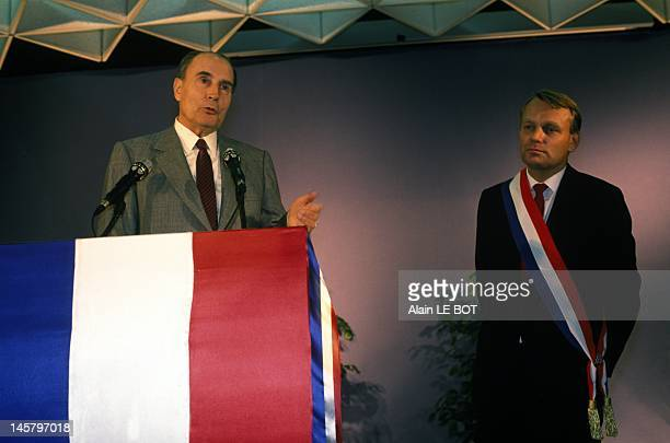 Jean Marc Ayrault during the campaign for municipal elections in Nantes with President Francois Mitterrand on February 8, 1989 in Nantes, France.