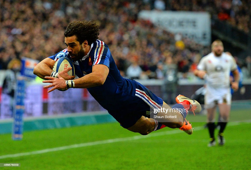 Jean Marc Doussain of France goes over to score their second try during the RBS Six Nations match between France and England at Stade de France on February 1, 2014 in Paris, France.
