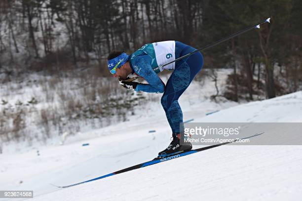 Jean Marc Gaillard of France competes during the CrossCountry Men's 50km Mass Start at Alpensia CrossCountry Centre on February 24 2018 in...
