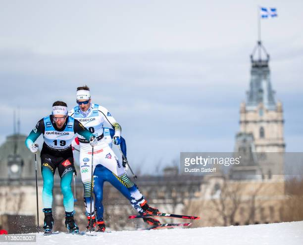 Jean Marc Gaillard of France competes in the Men's 15km freestyle pursuit during the FIS Cross Country Ski World Cup Final on March 24, 2019 in...