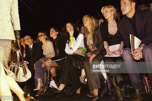 Jean Marc Loubier from Celine, Emmanuelle Beart with a friend, Christina Reali, Natty Belmondo, and Patricia Kaas with her friend all attend the...