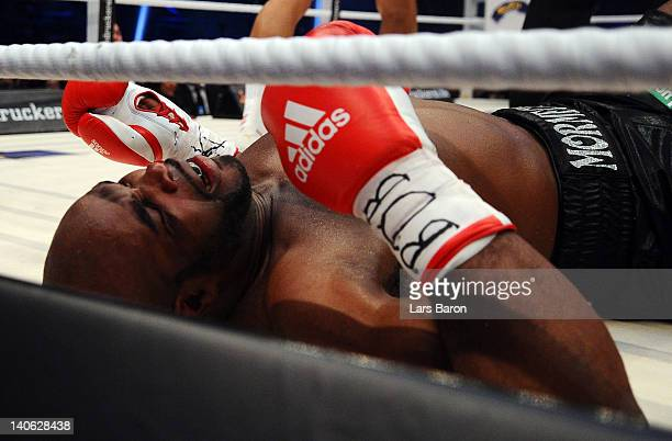 Jean Marc Mormeck of France lies on the ground during his WBO WBA IBF and IBO heavy weight titel fight against Wladimir Klitschko of Ukraine at...