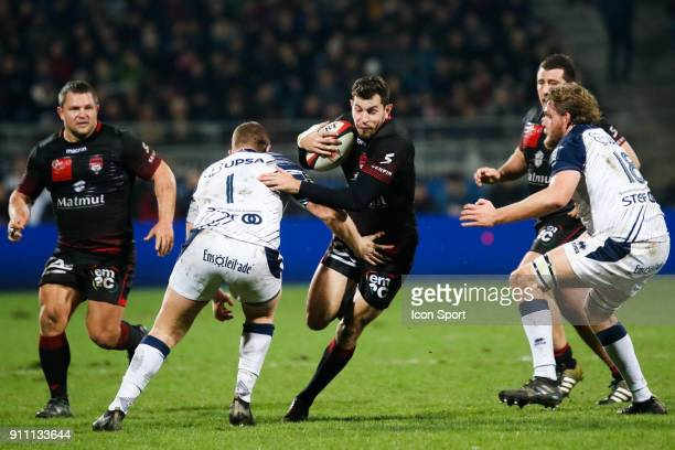 Jean Marcellin Buttin of Lyon and Quentin Bethune of Agen and Thomas Murday of Agen during the Top 14 match between Lyon and Agen at Gerland Stadium...