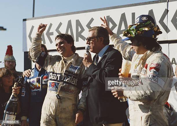 Jean Marie Balestre president of the FIA on the podium with race winner Nelson Piquet second placed Alain Prost and third placed Bruno Giacomelli...