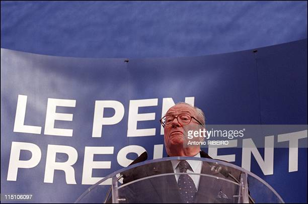 Jean Marie Le Pen gives press conference at his headquarter the day after his victory in Saint Cloud, France on April 22, 2002.