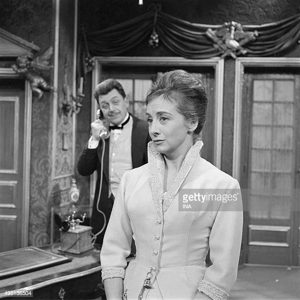 Jean Martinelli and Suzanne Flondans a scene of the television film on beautiful Sunday of September adapted by Ugo Betti's novel by Marcel Cravenne