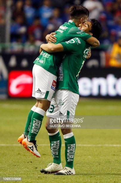 Jean Meneses of Leon celebrates with teammate Angel Mena after scoring against Cruz Azul during the Mexican Clausura 2019 tournament football match...