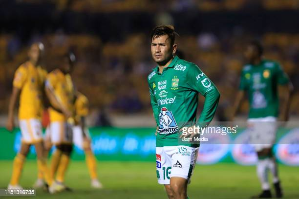 Jean Meneses of Leon gestures during the Final first leg match between Tigres UANL and Leon as part of the Torneo Clausura 2019 Liga MX at...