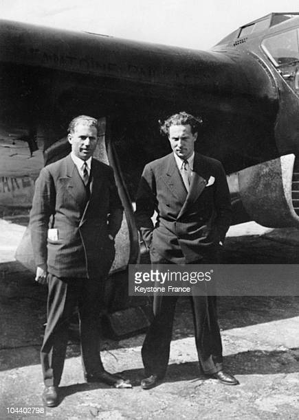Jean MERMOZ and Etienne DUTHURON flew to Brazil Beforehand they posed in front of their plane at the Bourget's airfield